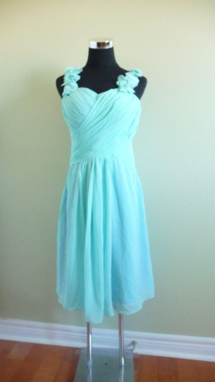 Chiffon tiffany blue bridesmaid dress knee by