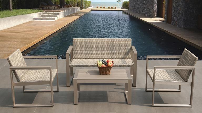 Salon de jardin canapé 2 places + 2 fauteuils + table basse ...