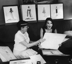 "andyswarhol:  Caption from LIFE. ""Natalie's big brown-black eyes grow larger with delight seeing costumes sketched by Edith Head for Sex and the Single Girl."""