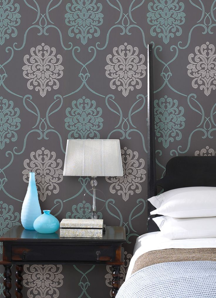 Turquoise blue and with bedroom decor idea with a feature for Turquoise wallpaper for bedroom