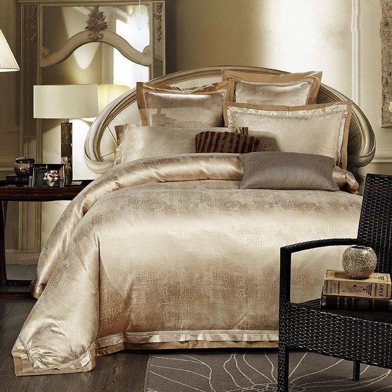 Gold White Blue Jacquard Silk Bedding Set Luxury 4pcs Satin Bed