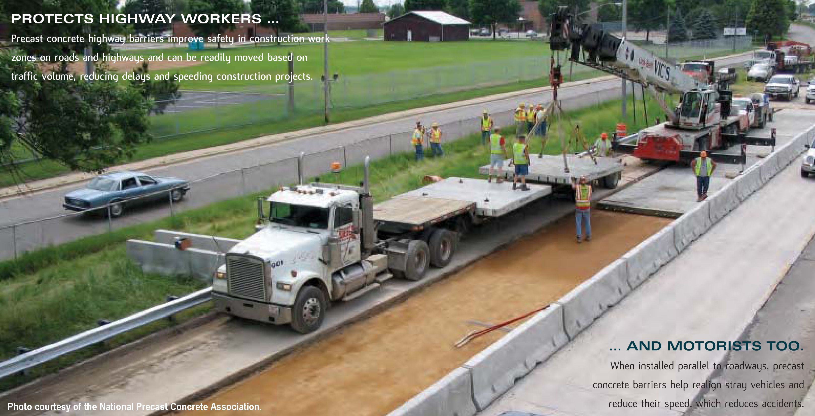 Precast concrete highway barriers improve safety in