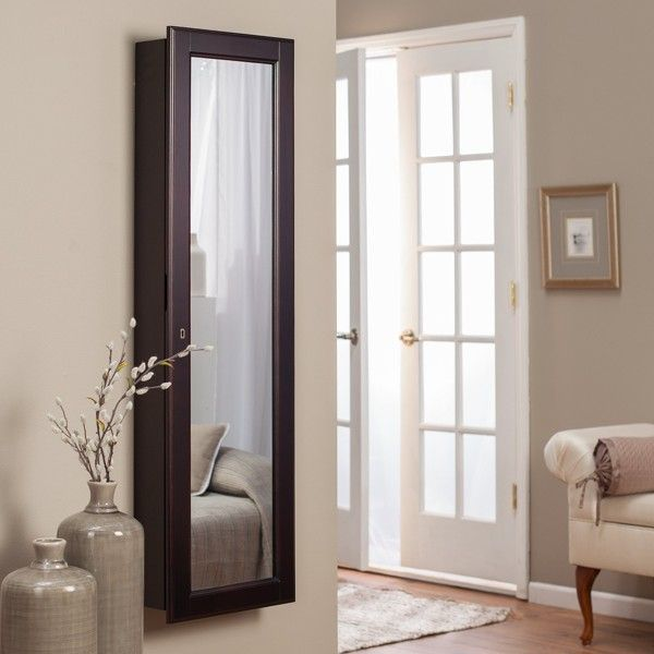 Wall Mounted Mirrored Jewelry Armoire Wall Mounted