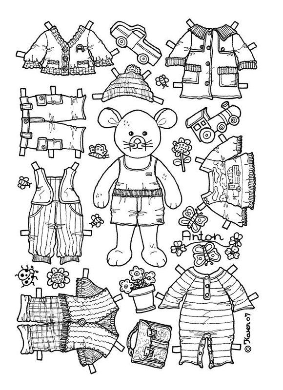 boy bear mouse paper doll coloring page coloring pages