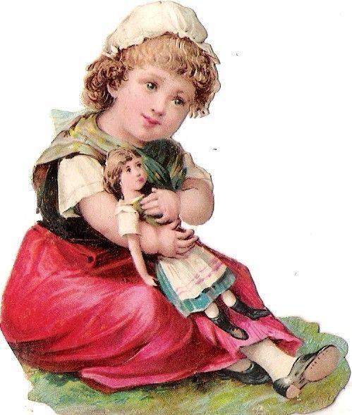 Oblaten Glanzbild scrap die cut chromo Kind child Puppe doll poupee girl fille