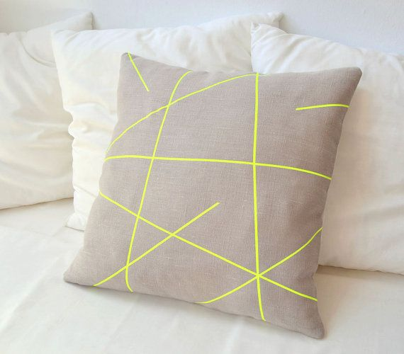 Loving this neon yellow beige thing right now thinking a neon pillow on my