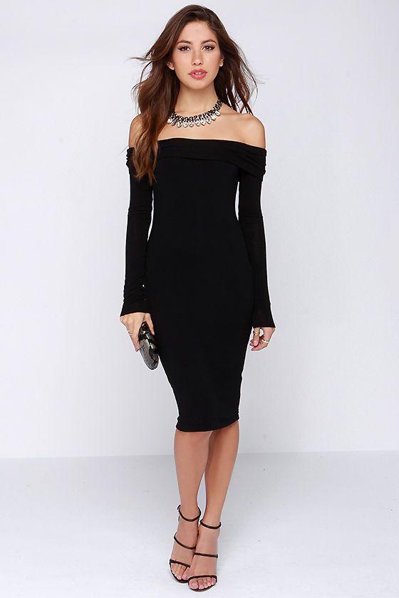cc2c9fe0d5 The One I Want Long Sleeve Off-the-Shoulder Black Dress at Lulus.com!