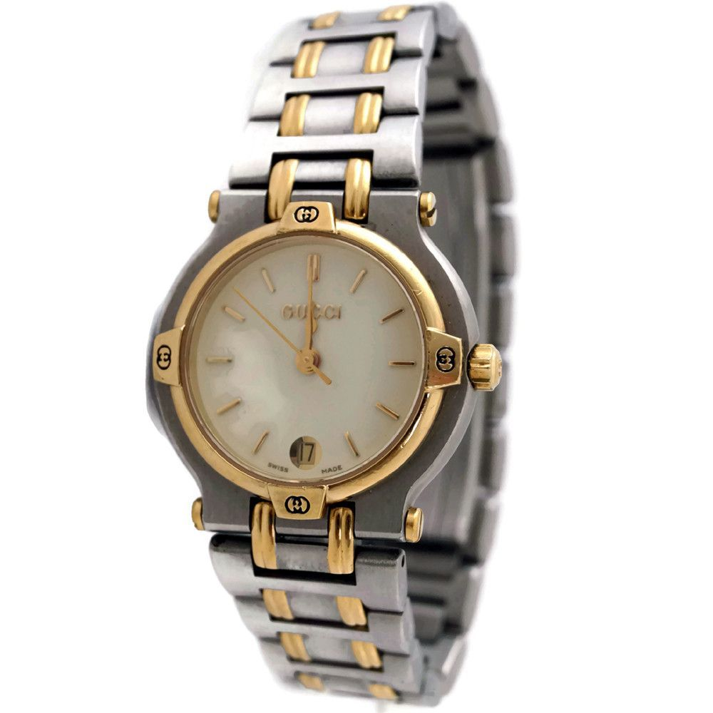 723299808b4 Vintage Unisex Gucci GG 9000L Two Tone Quartz Swiss Date Wrist Watch ...