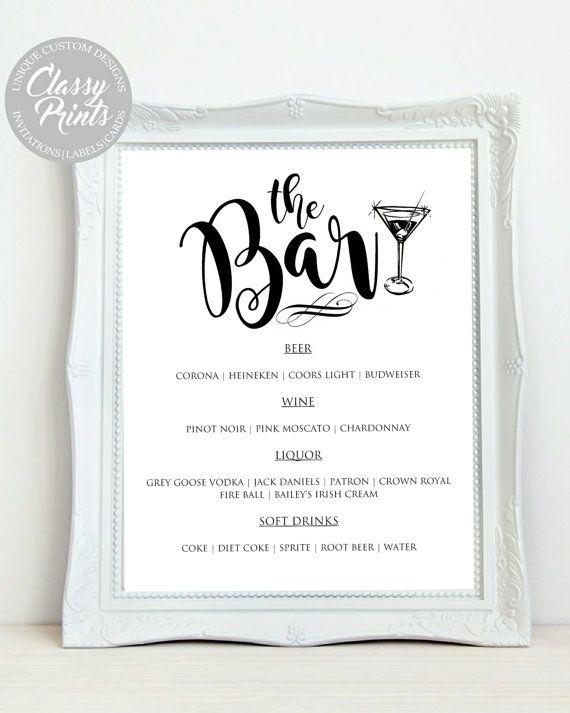 DIY Bar Menu Printable Bar Menu template by ClassyPrintsOnline ...
