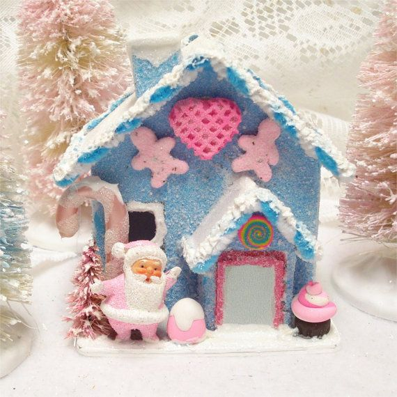 Blue Gingerbread Putz House Handmade OOAK 4 Inch Santa   Dekoration