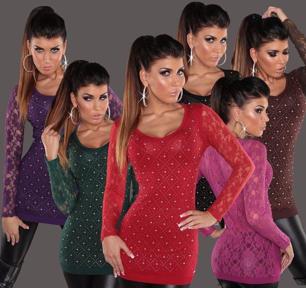 Koucla Longpullover Pullover Sweater Long Pulli Spitze Strass