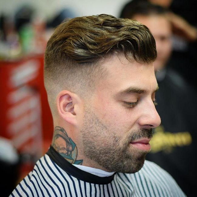 Zero Fade on a Wavy and Messy Slicked Back Design
