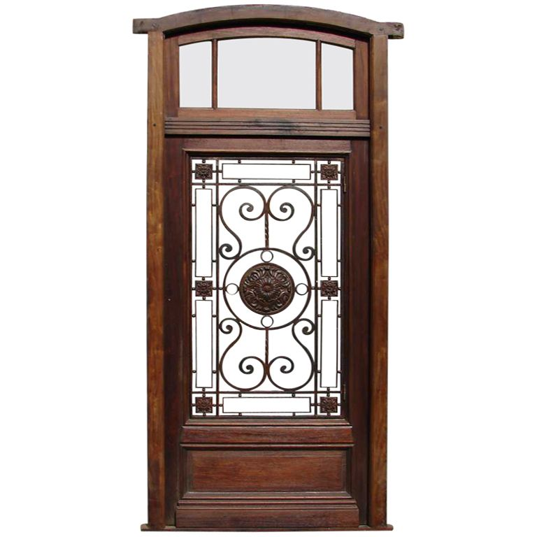 Single Entry Doors eyebrow arched single entry door with transom, glass and iron