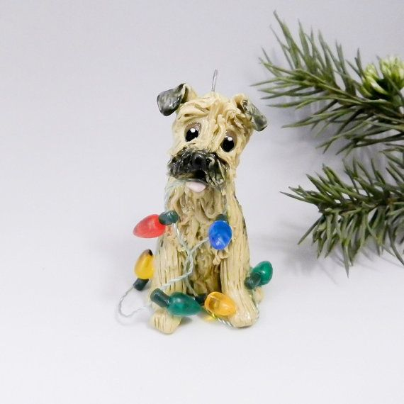 Border Terrier Christmas Ornament Figurine By Themagicsleigh