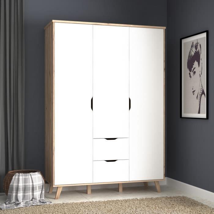 Vankka Armoire De Chambre Style Scandinave Decor Chene Et Blanc