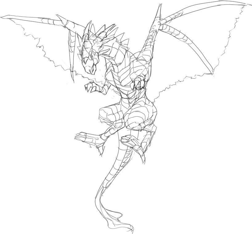 ドラゴンの描き方 ドラゴンの絵が描きたい 獣に翼生やしておけばいいんだろ 萌えイラスト上達法 お絵かき初心者の学習部屋 イラスト 萌えイラスト 絵