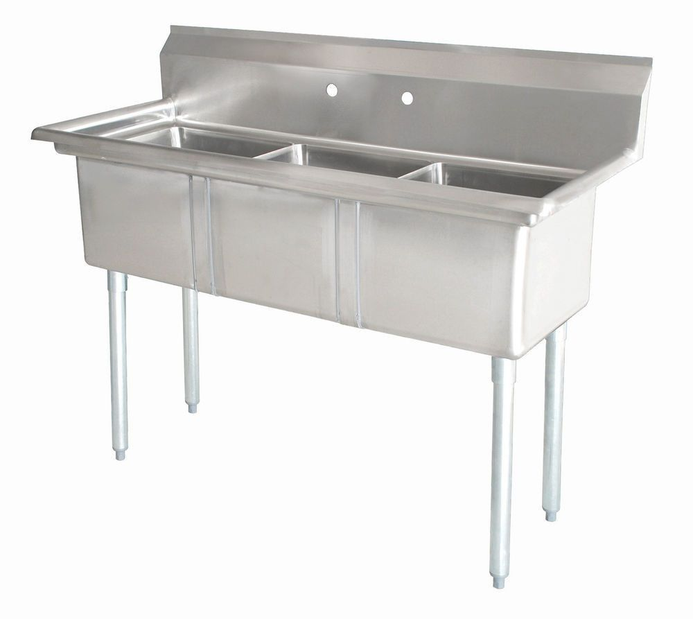 Stainless Steel 3 Compartment Sink 59 X 24 No Drainboard
