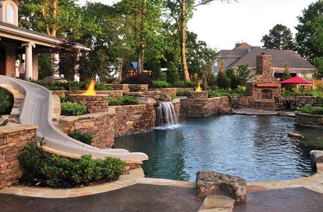 Pool Slide and Waterfall (With images) | Backyard resort ...