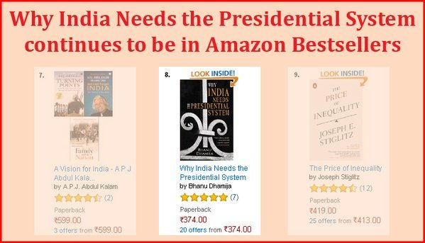 Why India Needs the Presidential System continues to sell well..number 8 on Amazon! Good sign for its message: India needs a better political system