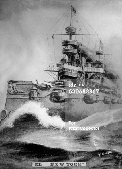 The 'New York'. Cruise battleship of 8.200 tons commanded by William Thomas Sampson. Had 10 cannons.Cigar card from the History of Cuba, Geografico Universal, Propaganda de los Cigarros Susini y La Corona, Tabacalera Cubana (Photo by The Print Collector/Print Collector/Getty Images) #historyofcuba The 'New York'. Cruise battleship of 8.200 tons commanded by William Thomas Sampson. Had 10 cannons.Cigar card from the History of Cuba, Geografico Universal, Propaganda de los Cigarros Susini y La Cor #historyofcuba