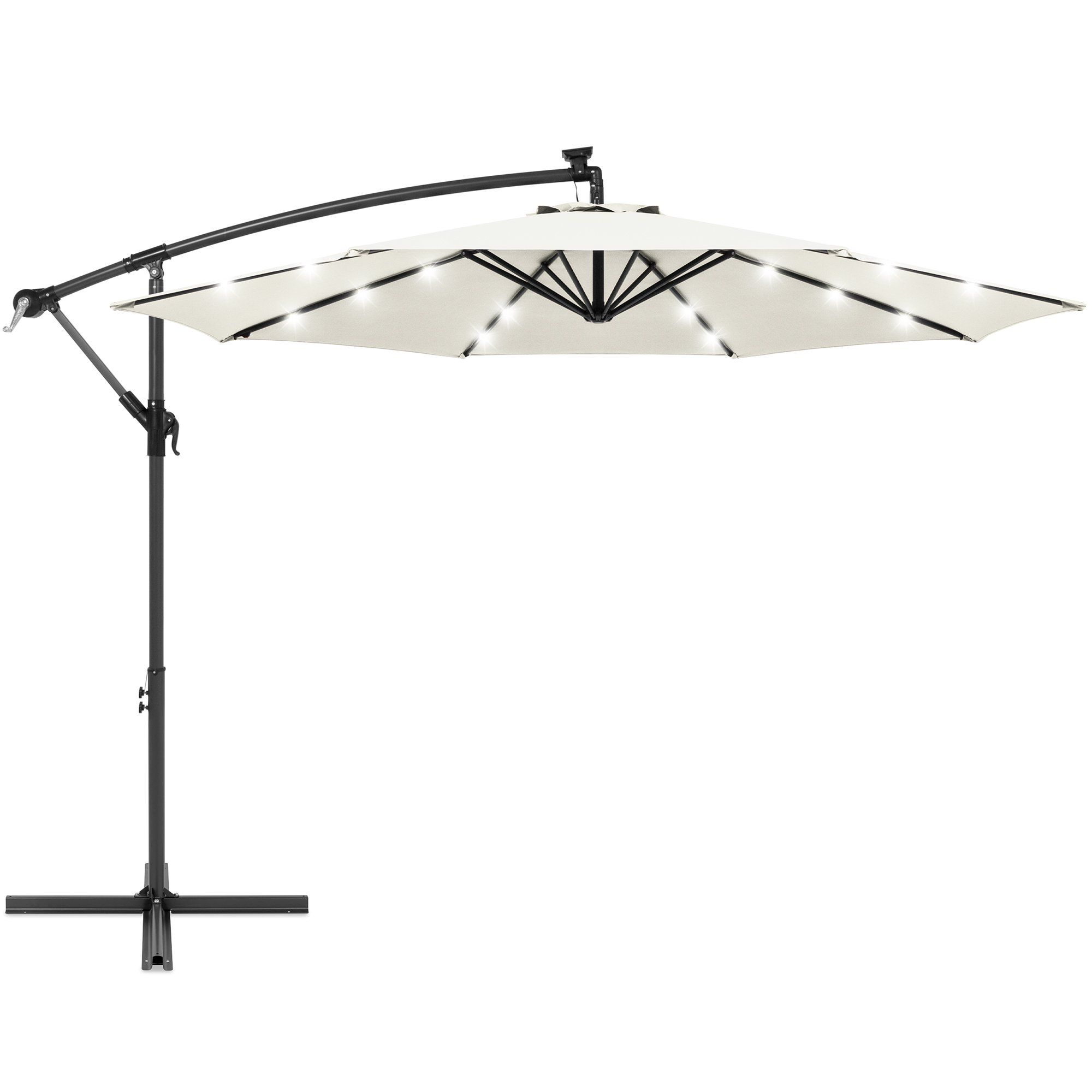 Best Choice Products 10ft Solar Led Offset Hanging Outdoor Market Patio Umbrella W Easy Tilt Adjustment Cream Walmart Com In 2020 Patio Umbrella Offset Umbrella Patio