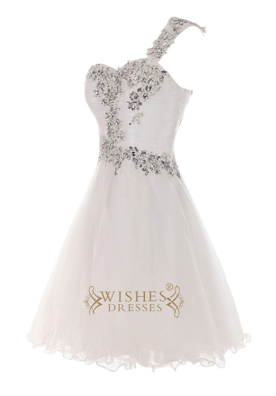 Bling oneshoulder short wedding dress engagement party dress am