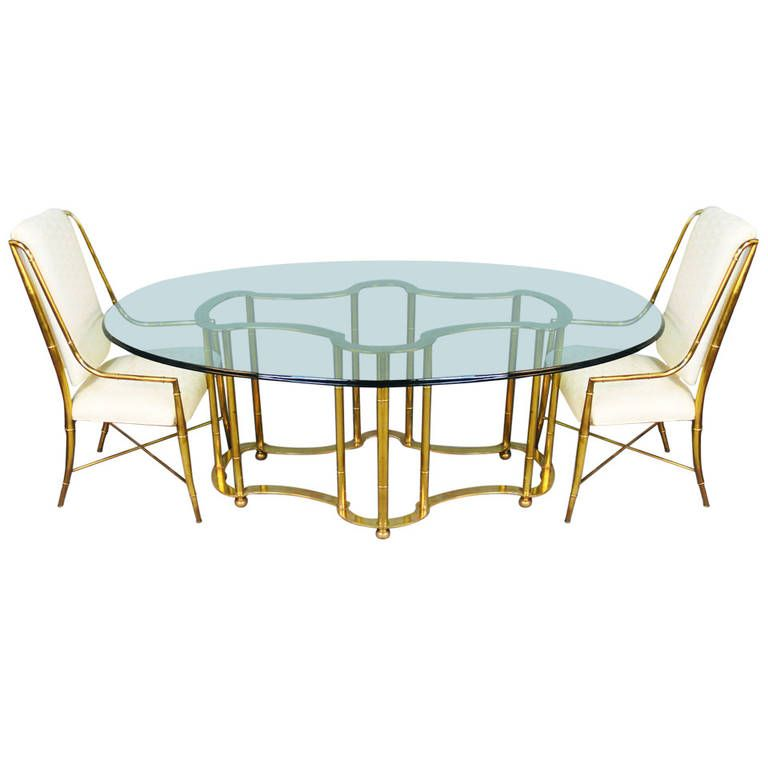 View This Item And Discover Similar Dining Room Tables For Sale At   Truly  A Rare And Gorgeous Dining Room Table. This Solid Brass Racetrack Table By  ...