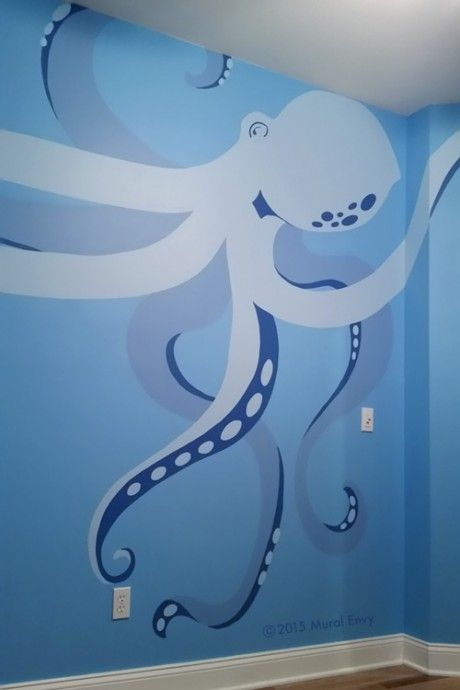 Under Sea Mural | Mural Envy - This giant octopus in shades of blue takes up the entire wall of teen bedroom.