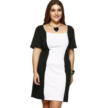 Plus Size Square Collar Color Block Dress (WHITE AND BLACK ...