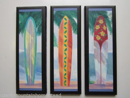 Surfboards-3pc-beach-wall-decor-plaques-surfing-theme-sign-surfboard-surf