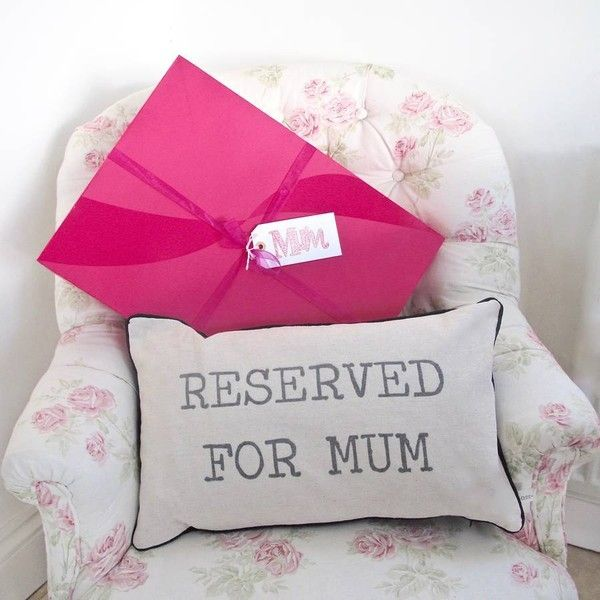 Chapel Cards 'Reserved For Mum' Cushion ~ Boxed And Gift Wrapped (€26) ❤ liked on Polyvore featuring home, home decor and holiday decorations