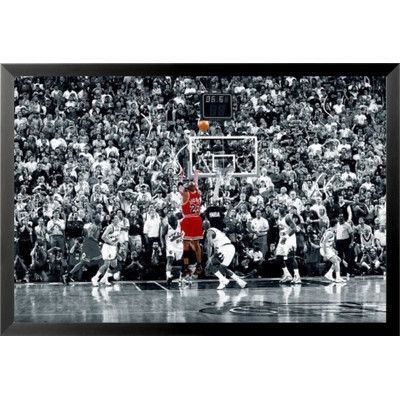 Buy art for less michael jordan the last shot sports nba chicago bulls superstar legend black and white crowd framed photographic print