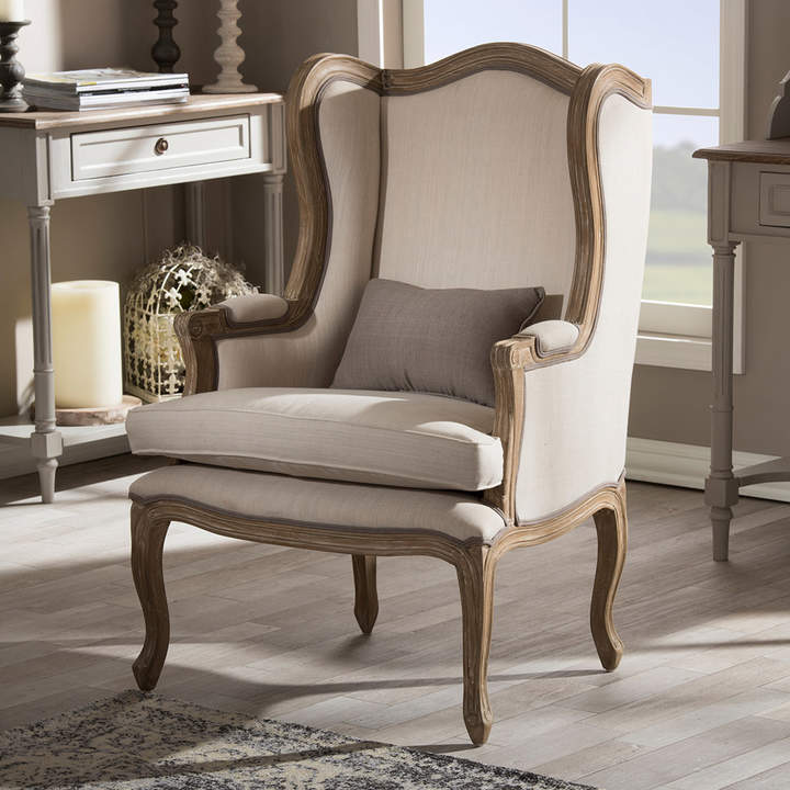 Baxton Studio Oreille Wingback Arm Chair Upholstered