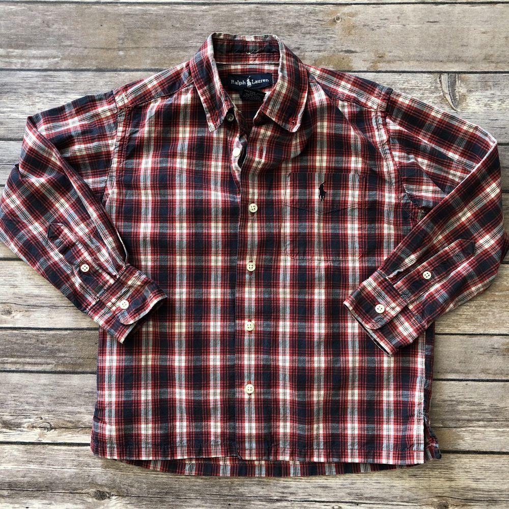 9e90a878 Ralph Lauren Baby Boy 4T Red Blue Plaid Long Sleeve Button Down Shirt  #RalphLauren #DressyEverydayHoliday