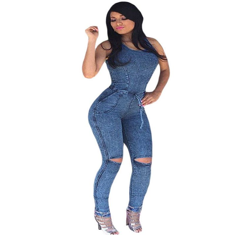 17b285ff5010 2017 Autumn Denim Jumpsuit For Women Jeans Sexy One Piece Rompers Long  Pants Tank Pinup Casual