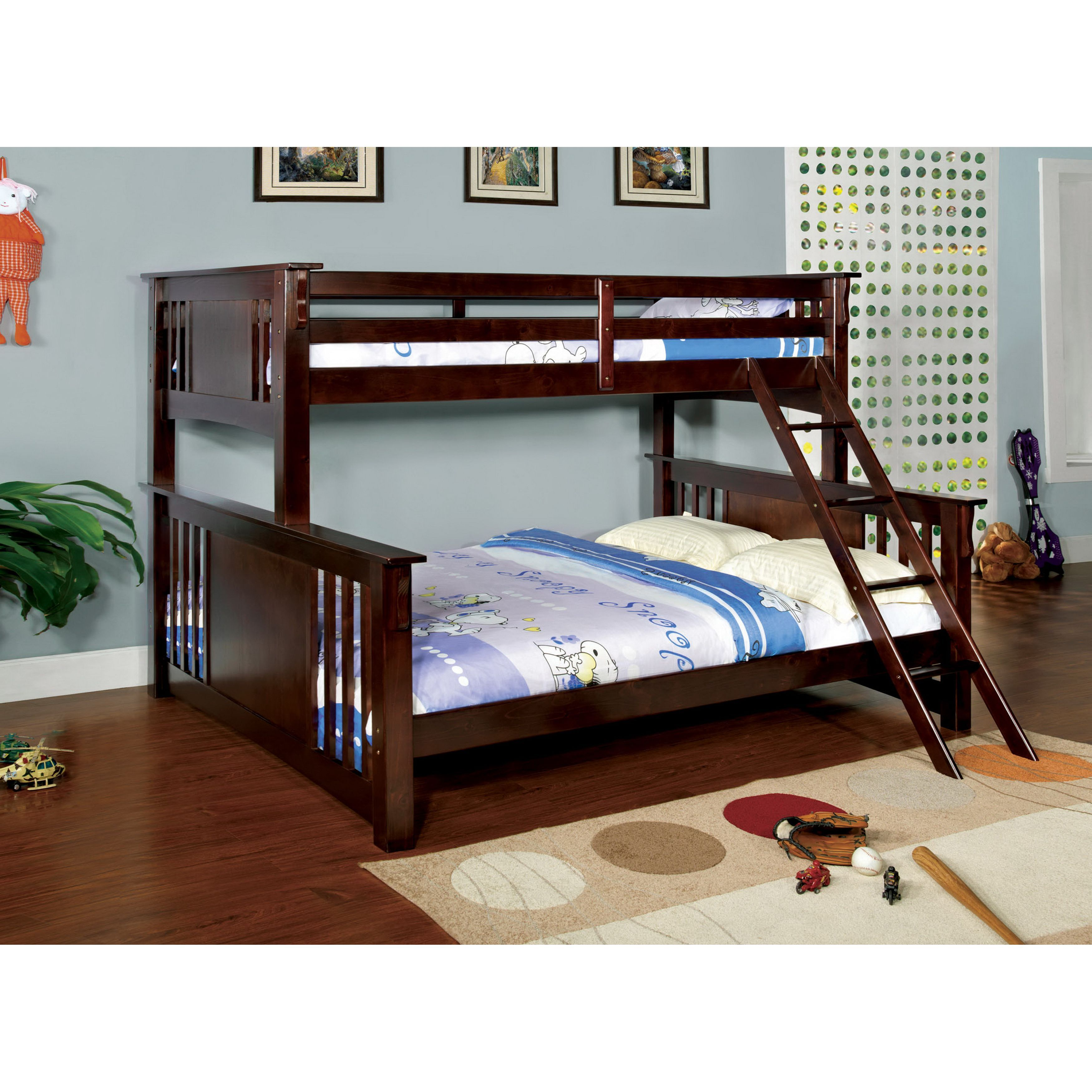 Queen size loft bed with stairs  Enhance your sleep space with this modern wooden twin over queen