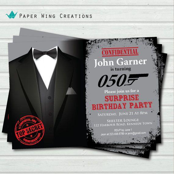 Man 50th Birthday Invitation. Surprise Birthday Invitation
