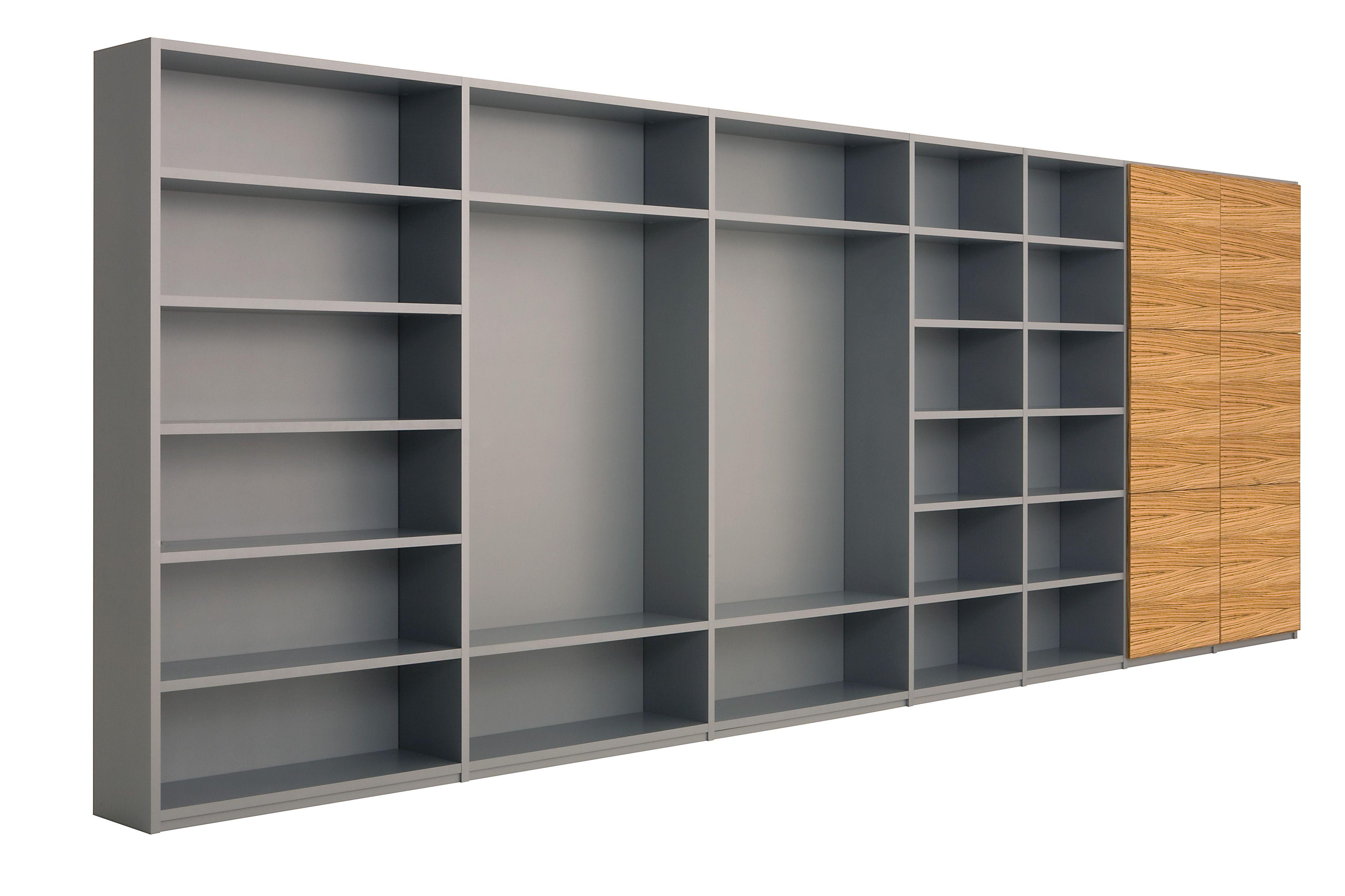 xxl container boekenkast met romp in aluminium kleurcoating deuren in zebrano blank gelakt