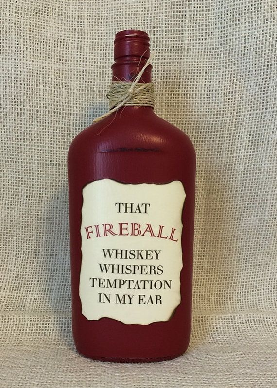Painted Fireball Whiskey Liquor Bottle With Lyrics By Florida Georgia Line By Katiesspecialtouch