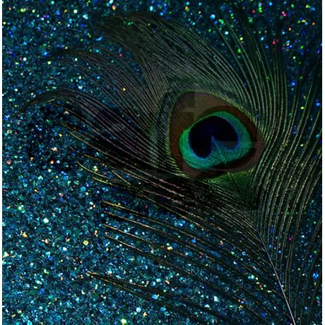 Glittery Aqua Peacock Shower Curtain On CafePress