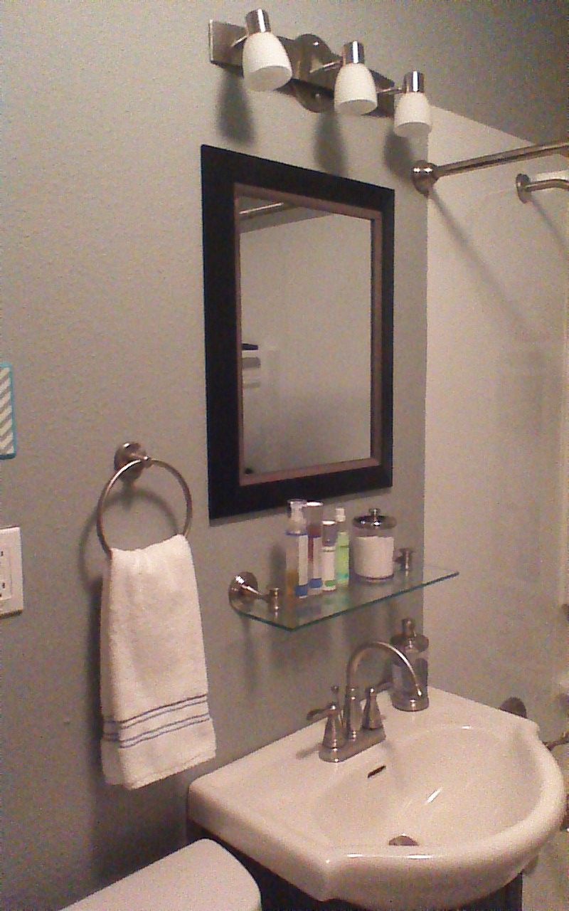 After Added Glass Shelf Under Mirror Bathroom Mirror Bathroom Mirror With Shelf Small Bathroom Shelves