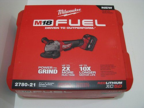 Milwaukee 2780-21 M18 FUEL 4-1/2″ / 5″ Grinder, Paddle Switch No-Lock Kit with 5.0 AH Battery. Speed = 8,500 RPM  http://www.handtoolskit.com/milwaukee-2780-21-m18-fuel-4-12-5-grinder-paddle-switch-no-lock-kit-with-5-0-ah-battery-speed-8500-rpm/