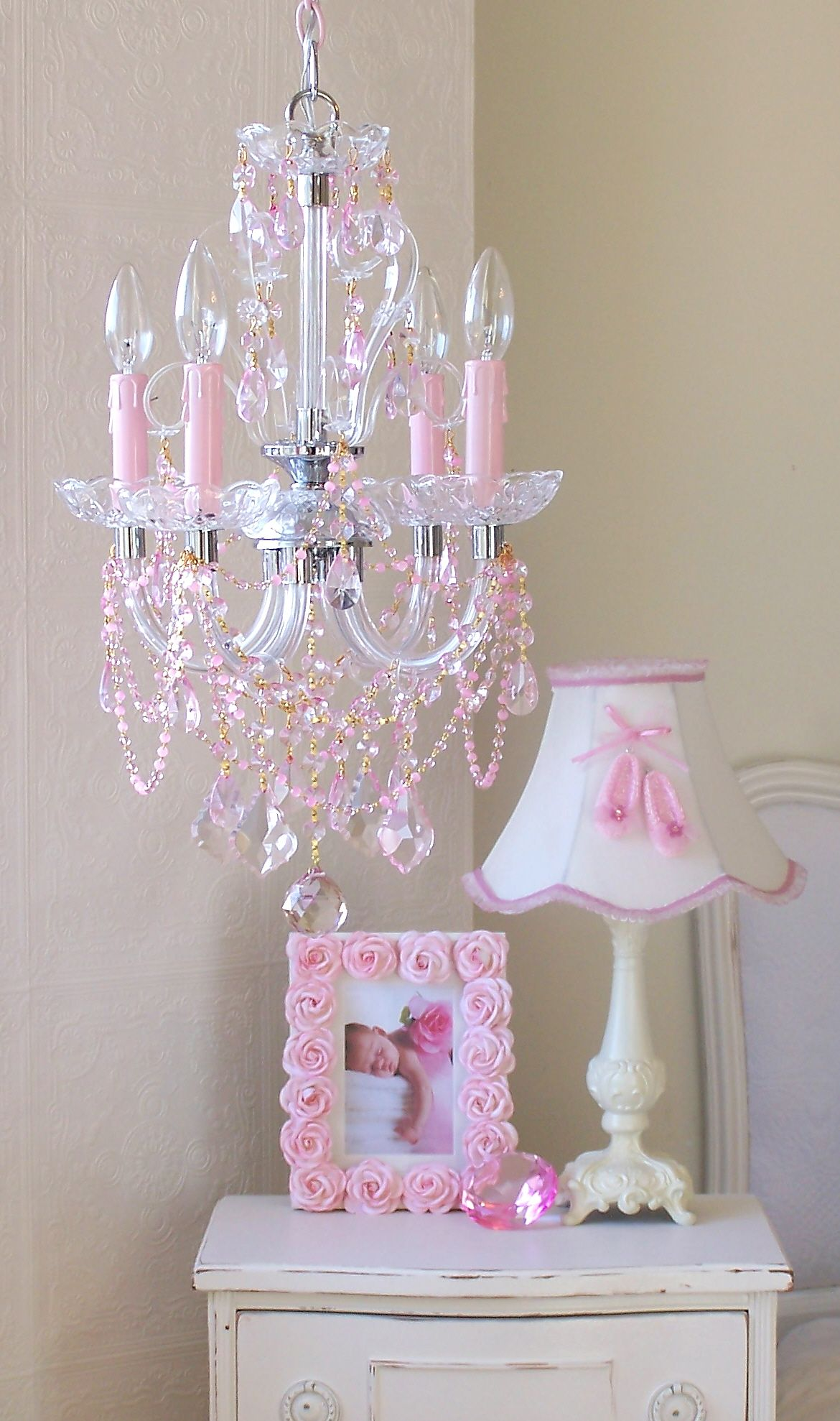 4 Light Beaded Pink Crystal Chandelier By A Vintage Light Pink Crystal Chandelier Pink Chandelier Baby Girl Room Chandelier for girls room