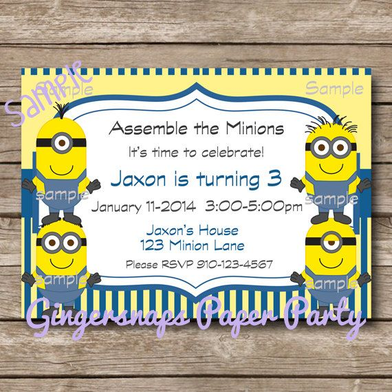 I Love The Wording Minion Party Invitation Printable Digital