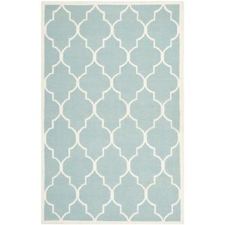 Safavieh Hand Woven Moroccan Dhurrie Light Blue Wool Rug 8 X 10
