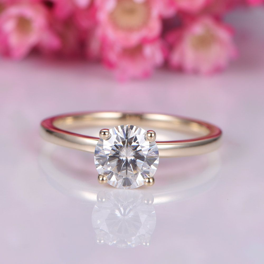 Moissanite engagement ring k yellow gold mm round cut charles