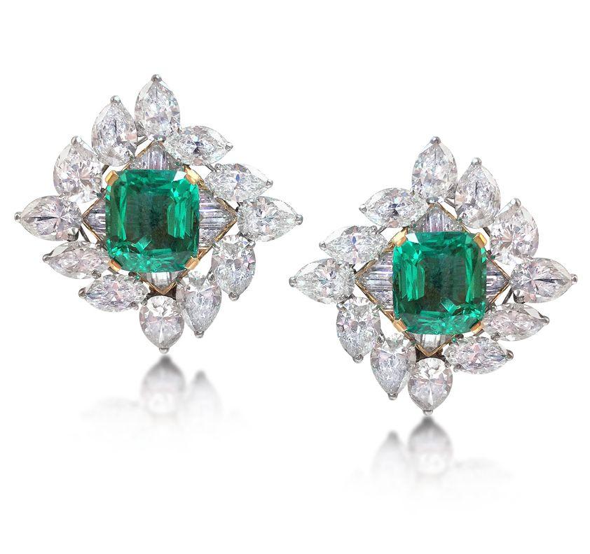 7e8b941df Harry Winston (circa 1950) - A Pair of Emerald and Diamond Earrings ...