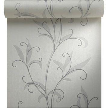 Papier peint vinyle expans sur intiss Feuillage, blanc, larg. 0.53 m | Papier peint, Papier ...