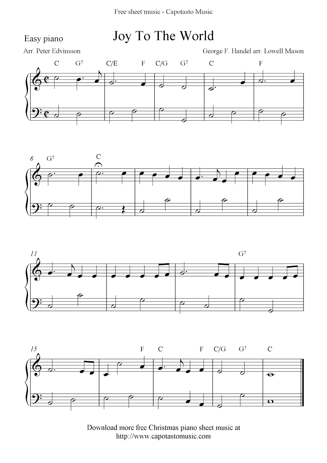 free sheet music scores easy free christmas piano sheet music notes joy to the - Free Christmas Piano Sheet Music