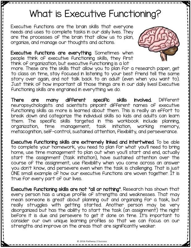 FREE Executive Functioning Printables Includes worksheets and – Memory Worksheets for Adults
